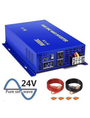 XYZ INVT 3000W Pure Sine Wave Power Inverter 24V DC to 120V AC with 2 AC Outlets 2 Sets of Battery Cables, Power Converter Generator for Home Solar S for Sale in San Diego, CA