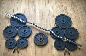 Standard Curling Bar Rare 'DP' Weight Lifting Set of Total 40kg / 88lb plates w/ clips for Sale in Burlington, CT