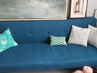 Blue Futon Couch With Pillows for Sale in Everett,  WA