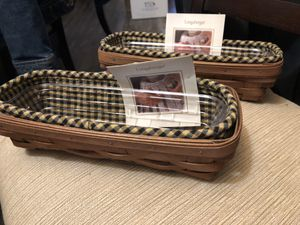 2 Longaberger Cracker Baskets Rich Brown With Khaki Check Liners & Protectors for Sale in Neosho, MO