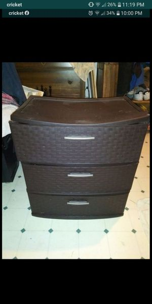 3 Plastic Drawer Unit. Dark Brown. Great for storage or clothes. for Sale in Molalla, OR