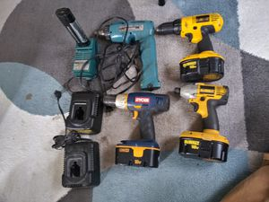 Dewalt cordless drill & impact driver with batteries and two chargers, Ryobi drill with battery, Makita drill with two batteries and a charger. for Sale in Puyallup, WA