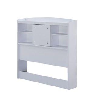 TWIN size white storage/bookcase bed HEADBOARD w/ sliding door for Sale in Anaheim, CA