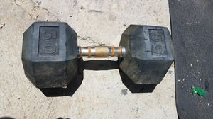 1x 50lb rubber hex dumbbell for Sale in Montebello, CA