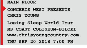 2 Tickets to Chris Young in Biloxi MS for Sale in Biloxi, MS