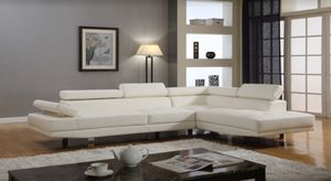 White chrome modern sectional sofa right chaise for Sale in Hollywood, FL