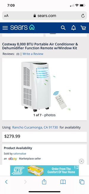 COSTWAY 8000 BTU PORTABLE AIR CONDITIONER AND DEHUMIDIFIER FUNCTION REMOTE W/ WINDOW KIT for Sale in Rancho Cucamonga, CA