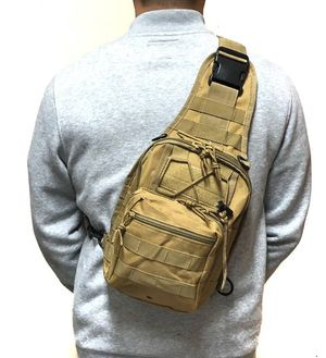 Brand NEW! Tan Tactical Crossbody/Shoulder/Side Bag/Sling/Pouch For Work/Traveling/Hiking/Hunting/Fishing/Biking/Sports/Outdoors/Camping $22 for Sale in Torrance, CA