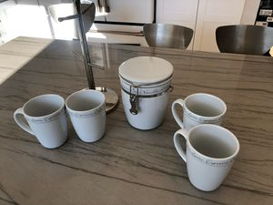 4 cups , tree holder for cups, canister for Sale in Auburn, WA