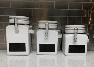 Set of three white kitchen canisters for Sale in San Juan Capistrano, CA