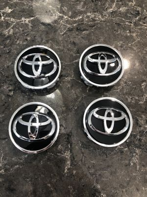 4x TOYOTA WHEEL RIMS CENTER HUB CAP CAPS BLACK BASE CHROME LOGO 62MM CAMRY +MORE for Sale in Simi Valley, CA