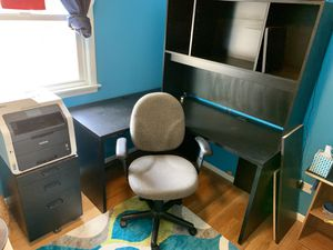 Corner desk set! Comes with lighted hutch, rolling file cabinet and desk chair! for Sale in Wheeling, IL