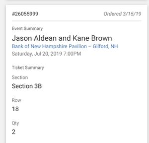 Jason aldean and kane brown tickets for Sale in Pepperell, MA