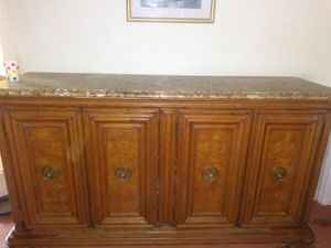 Belcard .Solid wood w/removable marble top Buffet.dimensions : ht 40 in.length 6 ft 8 in .width 2 ft. original price 5,000.00. for Sale in Southaven, MS