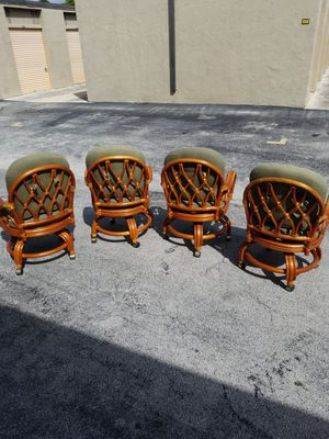 Vintage Jamaican Bamboo Swivel Dining Chairs with Casters and Table Base that's in excellent condition! for Sale in Delray Beach, FL