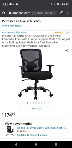 Big and Tall Office Chair - UNOPENED/STILL IN BOX for Sale in Fresno, CA