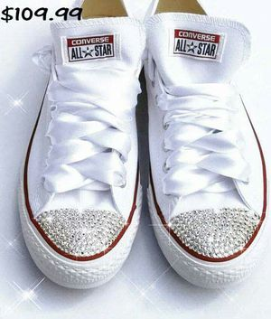 Bling white wedding converse for Sale in Columbus, OH