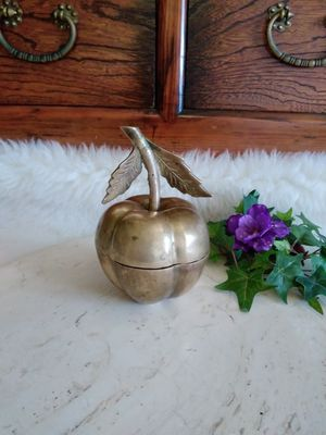 Vintage Brass Apple Trinket Box Candy Dish for Sale in Escondido, CA