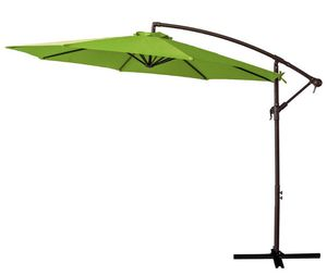 FLAME&SHADE 10' Offset Hanging Cantilever Umbrella Market Style for Large Outdoor Patio Table Shade Balcony Deck or Yard, Apple Green for Sale in Rancho Cucamonga, CA