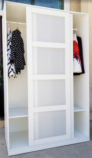 Absolutely STUNNING Double 2 Door White Frosted Sliding Door Closet Wardrobe Organizer Unit Stand Cabinet + 2 Clothes Rod + 2 Adj. Shelves INCLUDED for Sale in Monterey Park, CA