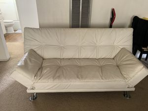 White Leather Futon for Sale in San Diego, CA