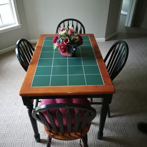 Green Tile Top KITCHEN TABLE with Four Chairs for Sale in Cumming, GA