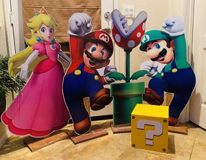 Super Mario Birthday Party Decorations Supplies Stand Up Wood Cutout Masks Question Mark Box for Sale in San Diego, CA
