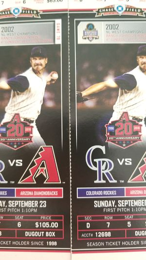 Dbacks vs Colorado 9/23/18 for Sale in Phoenix, AZ