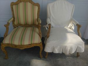 VINTAGE ( 2 ) CARVED WOOD OCCASIONAL CHAIRS for Sale in Redondo Beach, CA