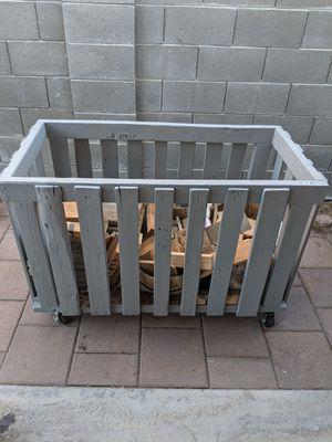 Cart bin, with wheels backyard firewood. for Sale in Las Vegas, NV