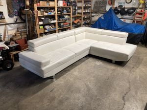 White leatherette sectional couch // free delivery for Sale in Issaquah, WA