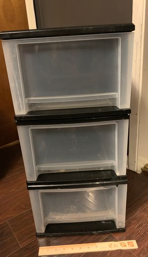 3 stackable medium plastic storage drawers for Sale in Los Angeles, CA