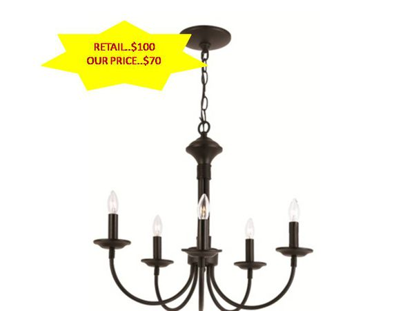 Trans Globe Colonial Candles 5 Light Chandelier In Black NEW