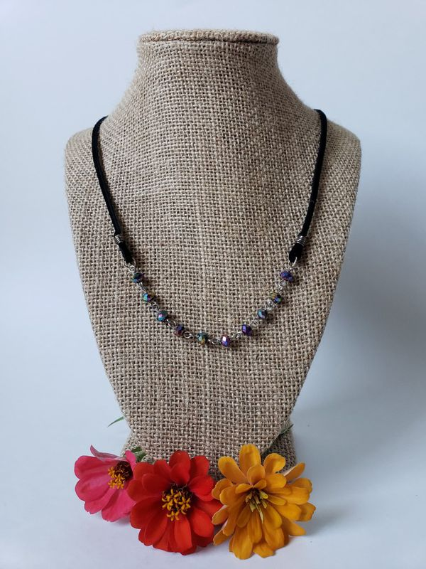 Suede and rosary necklace