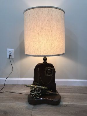 Vintage Wooden Lamp with Cannon and Crest for Sale in Vienna, VA