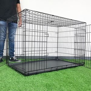 "(NEW) $65 Folding 48"" Dog Cage 2-Door Pet Crate Kennel w/ Tray 48""x29""x32"" for Sale in Whittier, CA"