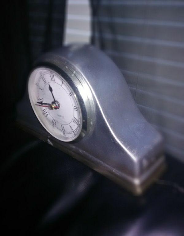 Custom metallic silver antique clock
