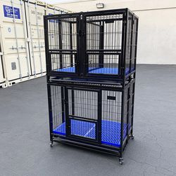 """$270 (new in box) stacking dog crate 37""""x25""""x64"""" heavy-duty cage folding kennel w/ plastic tray (set of 2) for Sale in Pico Rivera,  CA"""