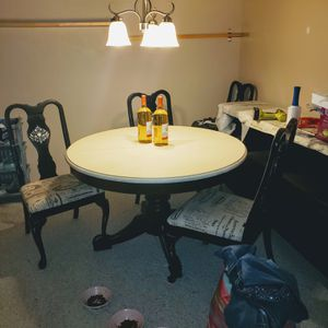 DOWN TO $175! Ivory and black kitchen table,4 chairs and leaf for Sale in Hugo, MN