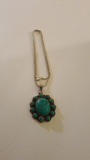 925 Turquoise pendant with 925 silver chain for Sale in Fairfax, VA