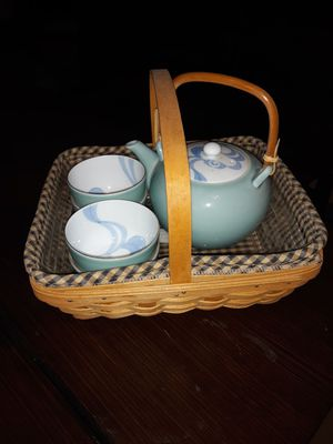 Longaberger Basket carrier with Chinese Tea Pot. for Sale in Camarillo, CA