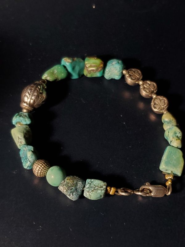 Handmade Turquoise And 925 Sterling Silver Beaded Bracelet
