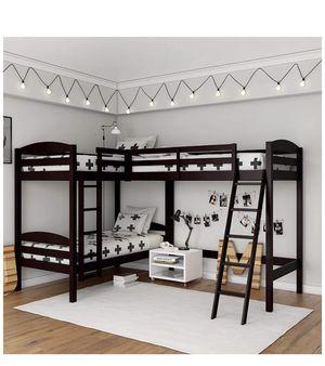 Dark Cherry wood Triple Bunk bed / Desk space for Sale in San Jose, CA