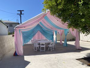 Canopys Drapping 10x20,10x30,20x20,20x30,20x40,20x50,20x60 tables ,tablecloths, resin chairs ,regular chairs for Sale in Carson, CA