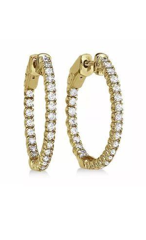 1.00CT Round Cut G/VVS2 Diamonds 14k Gold Hoop Earrings for Sale in Los Angeles, CA