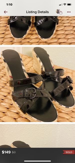 Burberry espadrille sandals fits like size 8 for Sale in San Ramon, CA