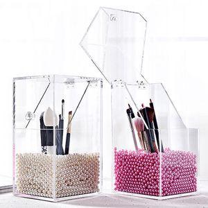 New Arrival Plastic Makeup Brush Holder Dustproof Storage Box Makeup Organizer Rangement Pencil Holder Lipstick for Sale in Willingboro, NJ