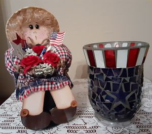 !!!Just REDUCED!!! NEW Patriotic Wooden Decor Doll or Like NEW Home Interior Mosiac Glass Candle!!! for Sale in San Antonio, TX