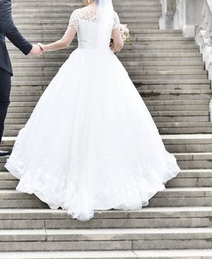 Wedding Dress White Ivory Leafy Train Custom Long for Sale in OH, US