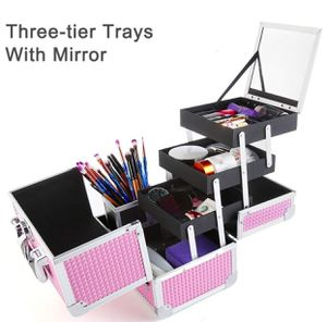Makeup Organizer, MCvilla Professional Train Box Cosmetic Case Makeup Storage Organiser Durable PU Aluminum Frame with 3 Trays, Mirror, Brush Holder for Sale in Modesto, CA